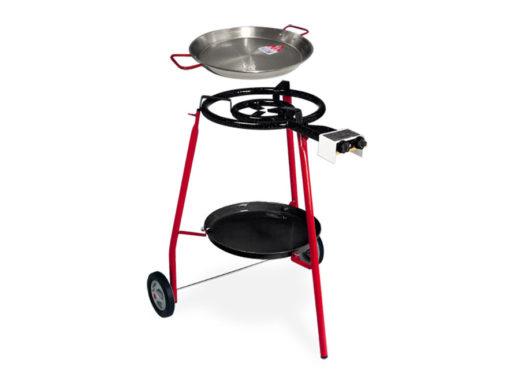 Set de paellero con ruedas y bandeja